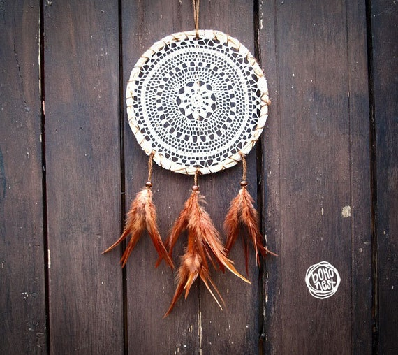 Dream Catcher - Brown Autumn - With Natural Brown Feathers, Crochet Mandala Web and Raw Frame - Home Decor, Mobile
