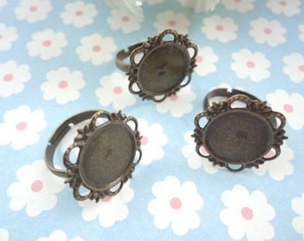 SALE--100 pcs- Antique Bronze Ring Base Adjustable with Fowers Pad