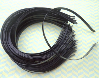 Black Plated Metal Headbands - Lot of 10- thin 6mm wide