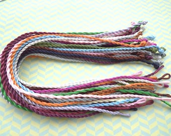50pcs 18-20 inch 3mm mixed color twist silk necklace cord with a loop and knot