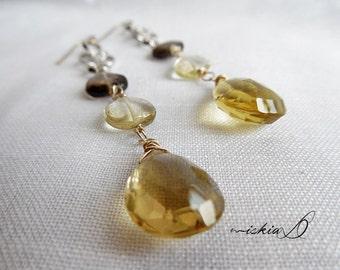 Long Dangle Earrings, November Birthstone, Lemon Quartz Earrings,Topaz Earrings,White Gold Filled Earrings