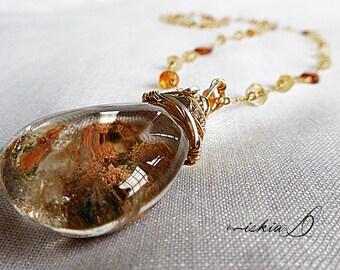 Quartz Pendant, Phantom Quartz Pendant Necklace, with Hessonite Garnet, and Natural Citrine, Yellow Gold Filled Chain
