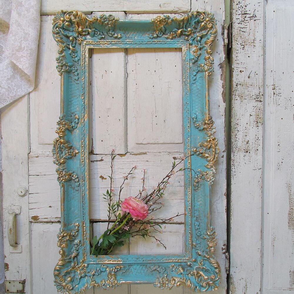 Large vintage frame wall hanging caribbean ocean blue shabby for Vintage ocean decor