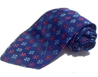 Vintage 1960s Skinny Navy Tie with Blue and Red Floral Neats