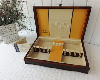 Mid-Century 1847 Rogers Brothers Flatware Set Storage Chest, Mahogany Color, Insert, Registration Card #741