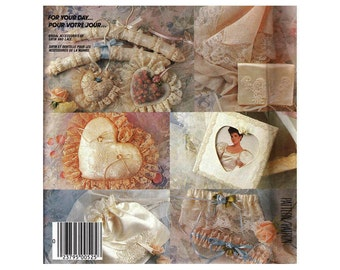 McCall's 2350 Bridal Accessories - Hanger Cover, Ring Pillow, Sachet, Bag, Garter, Handkerchief Vintage 1980s Craft Sewing Pattern UNCUT