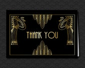 Great Gatsby Black and Gold Thank You Card, Art Deco Hollywood Style, Engagement, Birthday, 1920's Jazz Theme, Peacocks, Thank you Gift Card