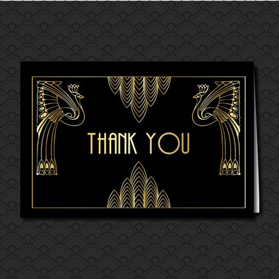 Thank You Card Great Gatsby Wedding Art Deco Black And Gold