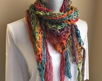 Rainbow Scarf/shawl - Bright Crocheted Scarf or shawl