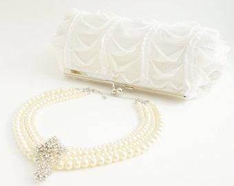 White Bridal Clutch Purse - Romantic White Ruffle Handbag for Wedding - Crossbody Option - Ready to Ship - Spring/Summer 2016