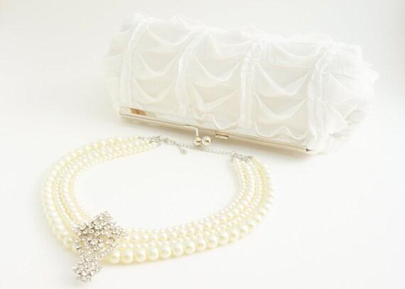 Gorgeous White Ruffle Bridal Clutch Handbag - Romantic Wedding Style - Crossbody Option - Made to Order - Custom Options