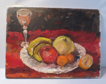 Still Life Painting of Fruit and a Wineglass, Oil or Acrylic, Signed, Deep, Rich Colors