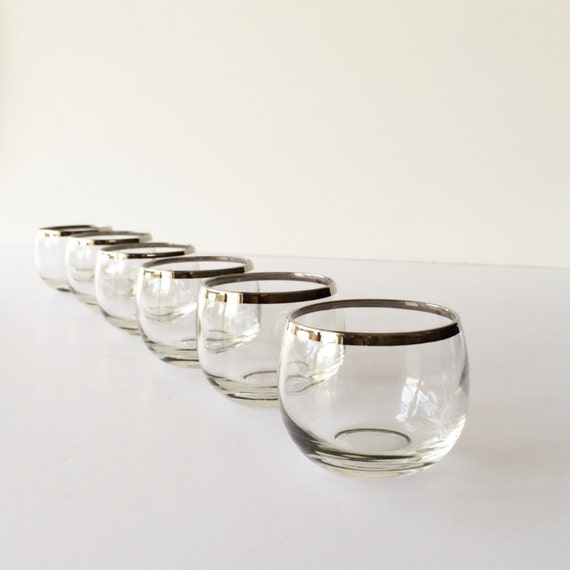 Vintage Roly Poly Glasses Silver Band Cocktail Glasses Set