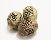 Large African Brass Beads (3),Ethnic Beads ,Unique Focal Beads (J71)
