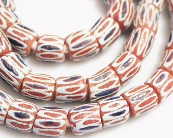 African Glass Beads(14), Tribal Beads, Ethnic Beads, Red Chevron Beads (J41)