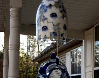"""Wind Chime, """"Blue & White China"""" , made from recycled wine bottle -  fashioned  into a Wine-Chime!"""