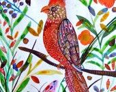 Parrot Painting Exotic Bird Painting Bird Wall Art Bird Fine Art Bird Home Decor Bird Modern Art Flowers Butterflies Bird Orange Blue Gold