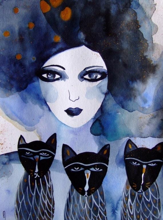femme portrait peinture chats femme visage art contemporain. Black Bedroom Furniture Sets. Home Design Ideas