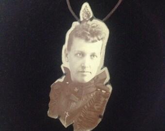 High-collared woman Carte de visite photograph pendant necklace