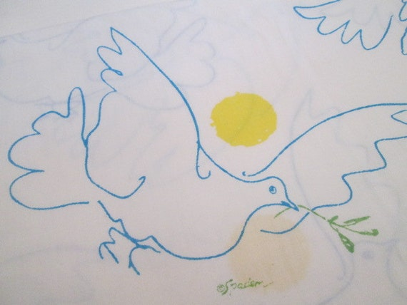 Picasso S Peace Dove Double Flat Sheet Fabric Panel By