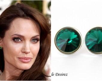 Emerald Earrings Swarovski Rivoli Stud Earrings Dark Green Earrings Green Post Earrings Bridesmaid Earring Bridal Party Jewelry EM34