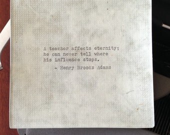"""Decoupaged glass tray, Henry Brooks Adams, """"A teacher affects eternity ..."""" quote, 1950's Remington typewriter"""