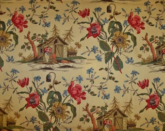 BRUNSCHWIG & FILS ASIAN Chinoiserie French Toile Fabric 10 Yards Gold Multi