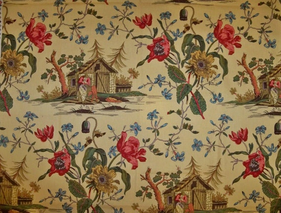 BRUNSCHWIG FILS ASIAN Chinoiserie French Toile Fabric 10