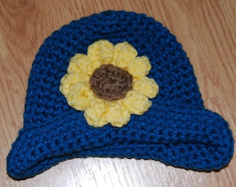 Crochet Newborn Baby Girl Sunflower Photo Prop or Everyday Wear Hat Ready To Ship **FREE SHIPPING**
