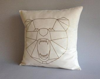 geometric bear pillow cover gold throw pillow cover nursery pillow abstract bear cushion
