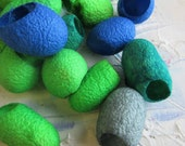 Silk Cocoons - Blue and Green - Art and Craft - Tassels - Jewelry Supplies  - Cool Mix