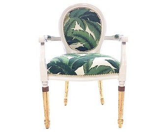 French Louis banana leaf gilded arm chair upholstered in emerald green and white custom upholstery