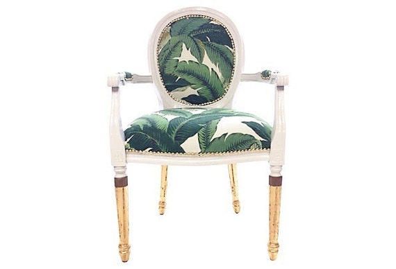 French louis banana leaf gilded arm chair upholstered in