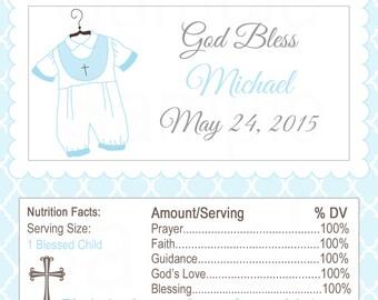 Boys Blue First Communion, Baptism, or Christening Hershey Label - Printable file