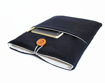sleeve for iPad air dark blue canvas case cover bag bags plain padded fabric handmade