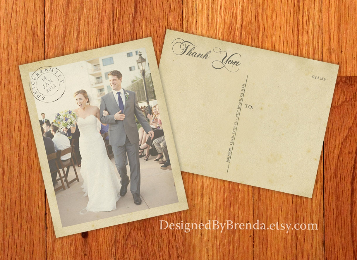 Vintage Wedding Thank You Postcards with Postmark & Photo