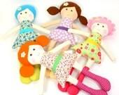 sweet pocket dolls   eco friendly toy   tiny rag dolls   handmade rag doll     small camille rag doll   small floral theme