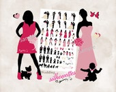 Silhouette wedding bridal party 72 Silhouettes clipart INSTANT DOWNLOAD Raspberry champagne blush and black for DIY invitations and programs