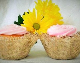 Cupcake Liners Burlap Wrappers Papers Unique Wedding Party Shower Rustic Country Decorations
