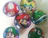 10% Off SELL!!! Super MARIO Brothers YOSHI Luigi Princess Peach Mushroom and Shell Marble Refrigerator Magnets!!