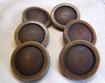 "Vintage 7/8"" Brown Tones Coat Buttons Set of 6 (1483)"
