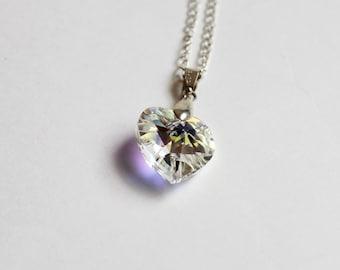 Swarovski Heart Pendant Necklace - White
