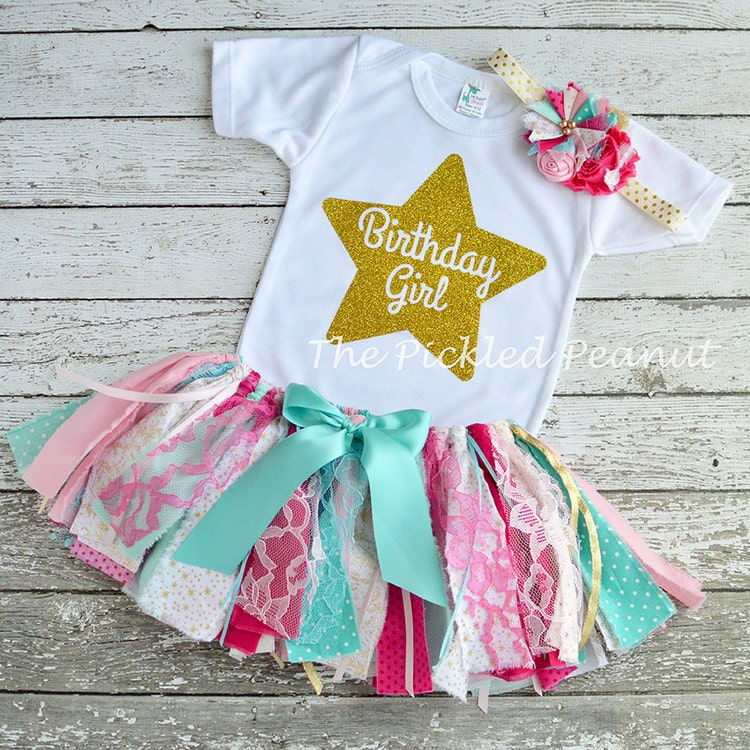 Pink Teal Gold 1st Birthday Outfit Baby Tutu By