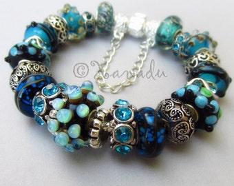 Authentic Pandora Bracelet With European Style Artisan Murano Lampwork Glass Beads And Rhinestone Charms
