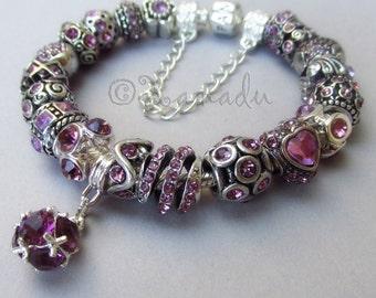 Genuine Pandora Bracelet - Sterling Silver Pandora Bracelet Chain With European Style Lavender June Birthstone Alexandrite Rhinestone Beads