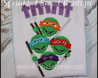 TMNT Teenage Mutant Ninja Turtle Shirt Girls Boys Appliqué Monogram Shirt Sprinkled Sweet Boutique