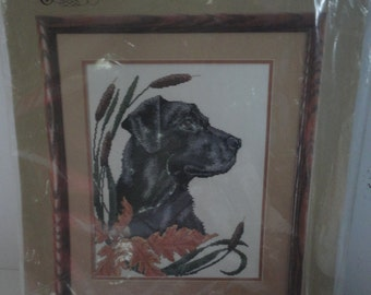 Vintage Unopened Something Special Counted Cross Stitch Black lab and Cattails Wall Hanging Candamar Designs Inc. Fall Colors