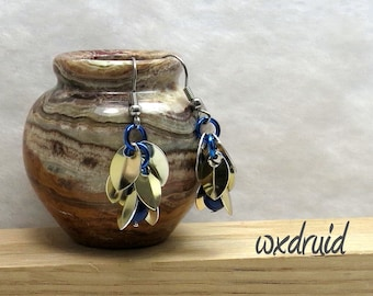 Chainmail Earrings, Shaggy Loops Earrings with Tiny Scales, Gold and Dark Blue Dangles made with Swarovski Pearls