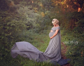 Meghan Maternity Dress Extended Length Skirt and Infinity Wrap, Chiffon, Maternity Photography Prop, Maternity Prop