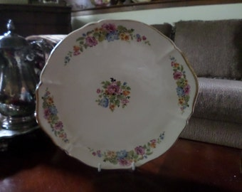 Vintage WS George-Ivory-Argosy-Gold Trim Floral Design Serving/Plate/Cake/Bakery/Platter